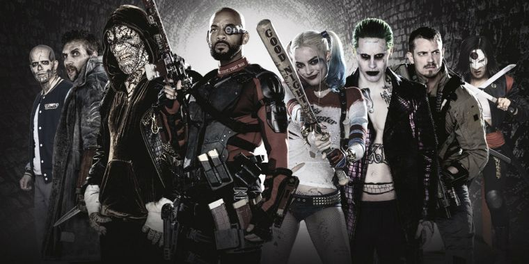 The movie stars Will Smith, Margot Robbie and Jared Leto (centre, left to right)
